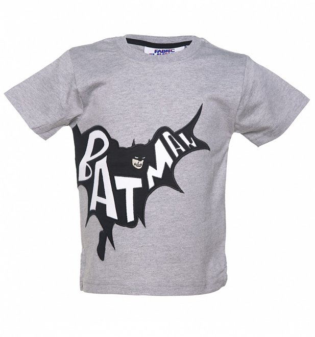 Kids Grey DC Comics Batman Applique T-Shirt from Fabric Flavours