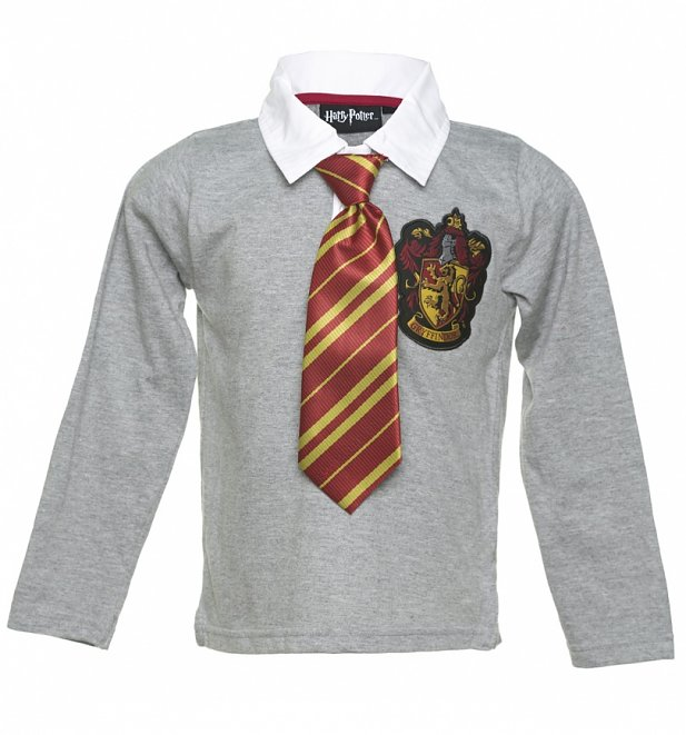Kids Grey Long Sleeved Harry Potter Gryffindor Dress Up T-Shirt from Fabric Flavours