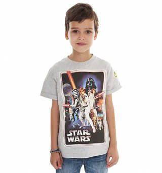 Kids Grey Marl Star Wars A New Hope Classic Poster T-Shirt from Fabric Flavours