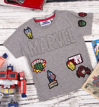 Kids Grey Marvel Superheroes Embossed Logo T-Shirt from Fabric Flavours