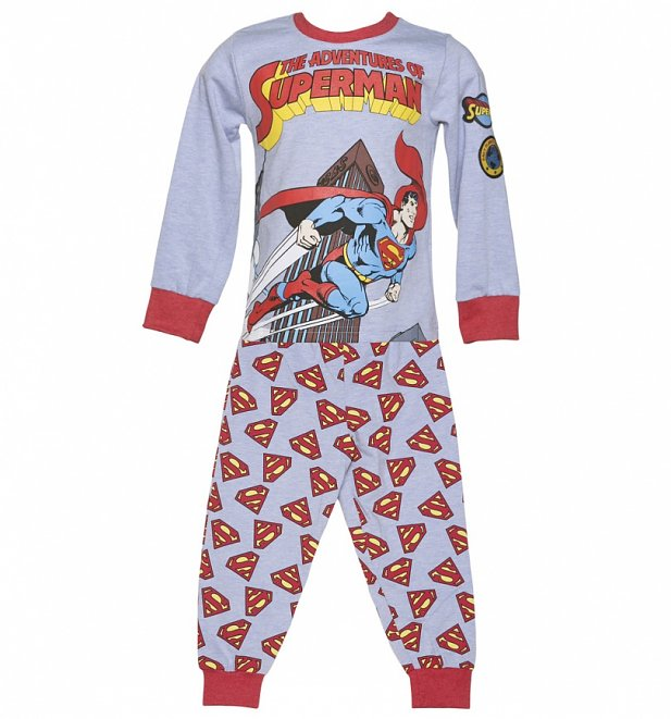 Kids Light Blue Marl DC Comics Adventures Of Superman Pyjamas from Fabric Flavours