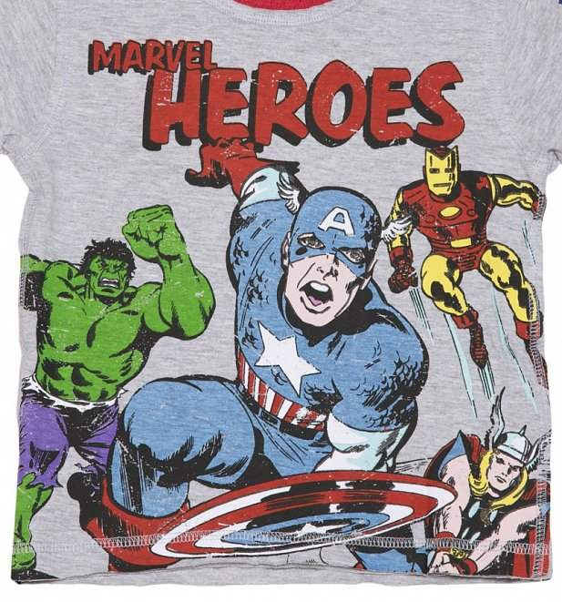 Kids Light Grey Marl Marvel Superheroes Comic Ringer T-Shirt from Fabric Flavours