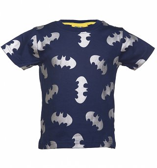 Kids Navy Batman Reflective Logo Repeat Print T-Shirt from Fabric Flavours