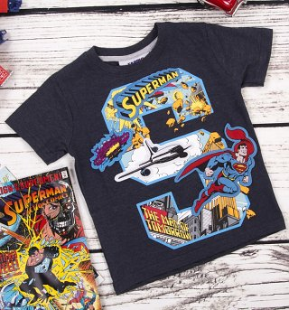 Kids Navy Marl DC Comics Superman S Applique T-Shirt from Fabric Flavours