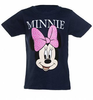 Kids Navy Minnie Mouse Name T-Shirt