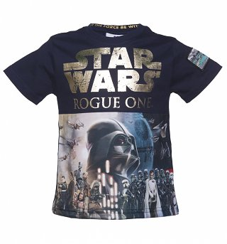 Kids Star Wars Rogue One Gold Foil Logo Poster T-Shirt from Fabric Flavours