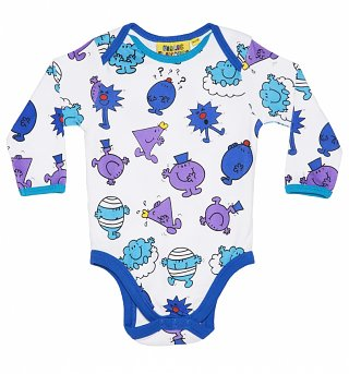 Kids White And Blue Mr Men Repeat Print Babygrow from Fabric Flavours
