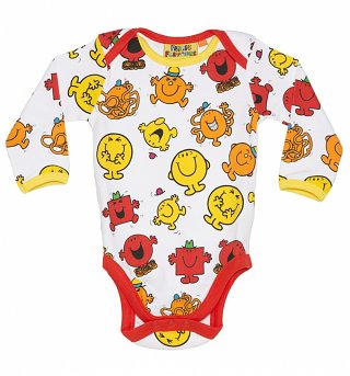 Kids White And Orange Mr Men Repeat Print Babygrow from Fabric Flavours