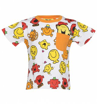 Kids White And Orange Mr Men Repeat Print T-Shirt from Fabric Flavours