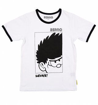 Kids White Beano Dennis The Menace Ringer T-Shirt
