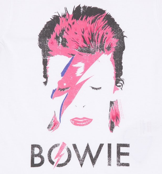 Kids White David Bowie Aladdin Sane T-Shirt from Amplified Kids