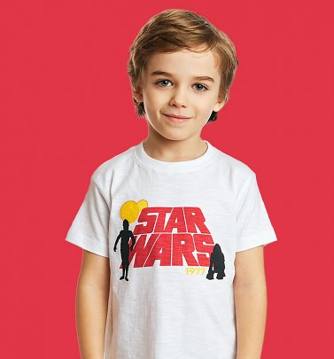 Kids White Retro Star Wars T-Shirt from Fabric Flavours