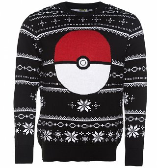 Knitted Pokemon Pokeball Fair Isle Christmas Jumper