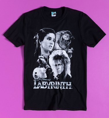 Labyrinth Black And White Compilation Black T-Shirt