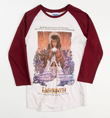 Labyrinth Illustrated Movie Poster White And Burgundy Raglan Baseball Shirt