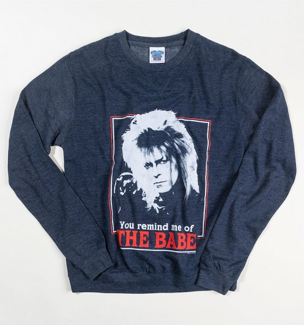 Labyrinth Retro You Remind Me Of The Babe Heather Navy Sweater