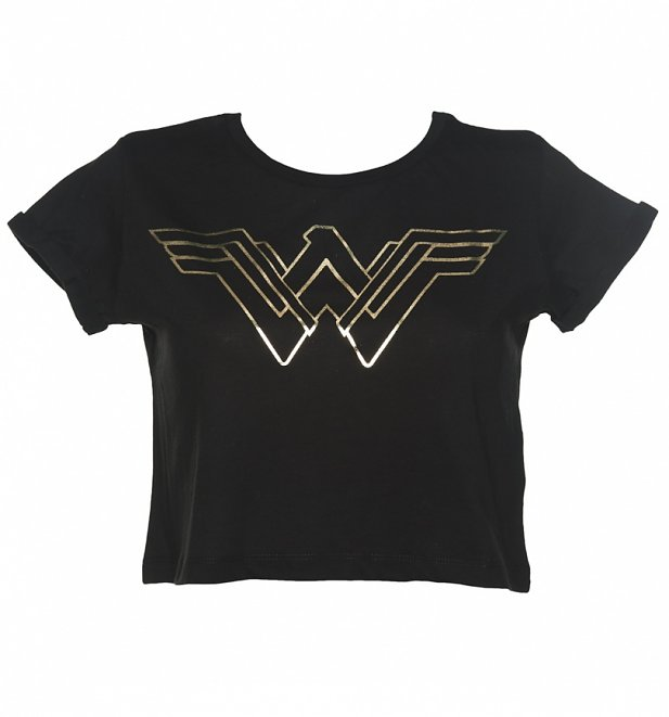 Women's Black Batman Vs Superman Gold Wonder Woman Logo Cropped T-Shirt