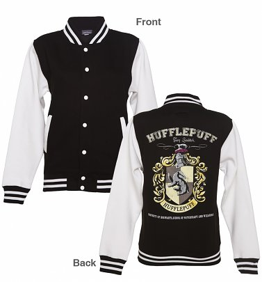 Women's Black Harry Potter Hufflepuff Team Quidditch Varsity Jacket