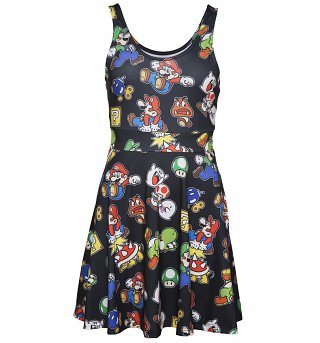 Women's Black Nintendo Icons Skater Dress