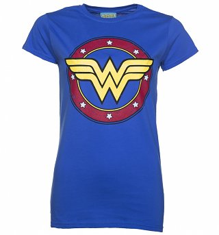 Women's Blue Wonder Woman Circle Logo T-Shirt