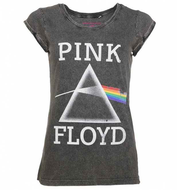 Women's Charcoal Burnout Pink Floyd Dark Side Of The Moon T-Shirt With Rolled Sleeves