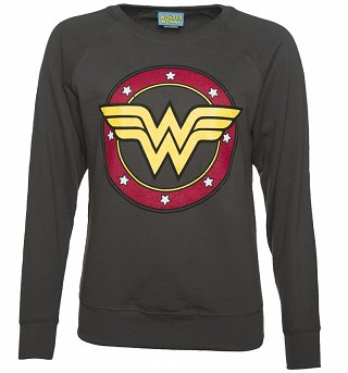 Ladies Charcoal Wonder Woman Circle Logo Sweater