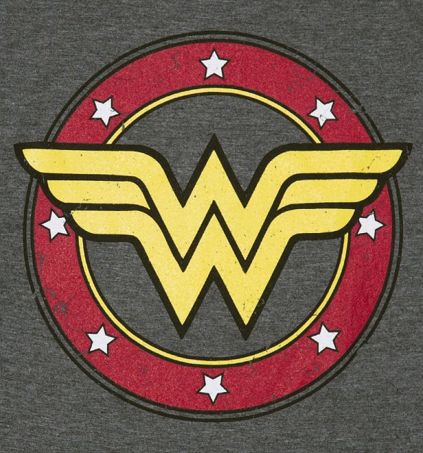 Women's Charcoal Marl Wonder Woman Circle Logo T-Shirt