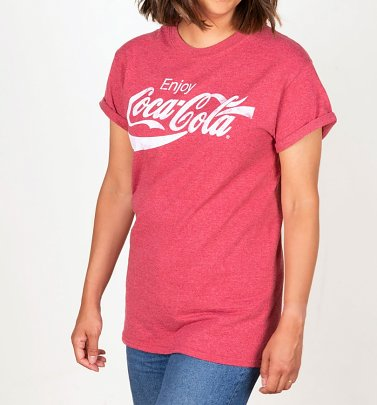 Women's Red Marl Enjoy Coca-Cola Boyfriend T-Shirt
