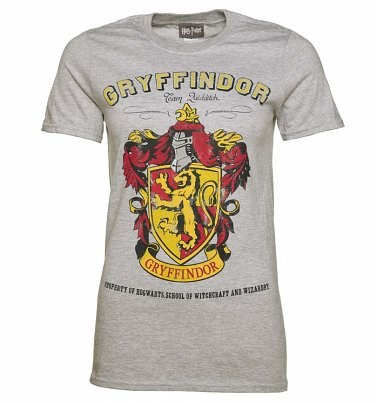 Harry Potter Gryffindor Quidditch Team Damen T-Shirt, Grau