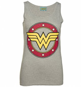 Ladies Grey Wonder Woman Circle Logo Vest