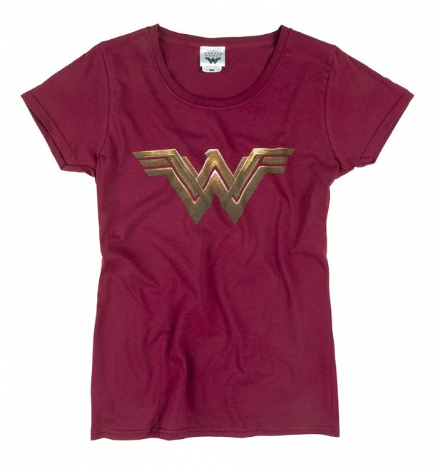Women's Dark Red Wonder Woman Logo T-Shirt