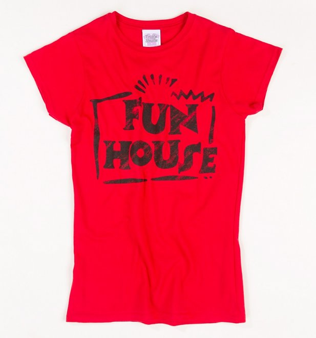 Women's Red Team Fun House Logo Fitted T-Shirt
