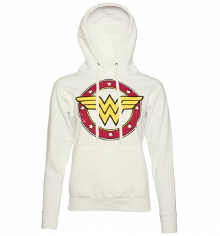 Ladies White Wonder Woman Circle Logo Hoodie