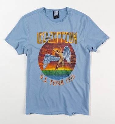 Light Blue Led Zeppelin US Tour 1975 T-Shirt from Amplified