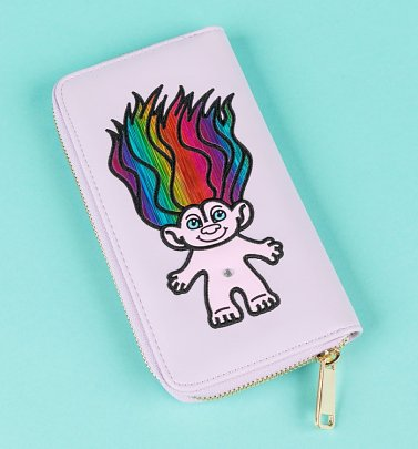 Lilac Embroidered Trolls Wallet from Difuzed