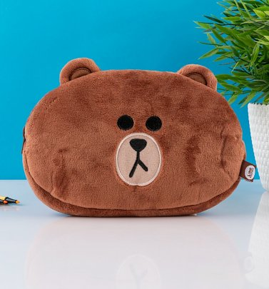 Line Friends Brown Plush Pencil Case