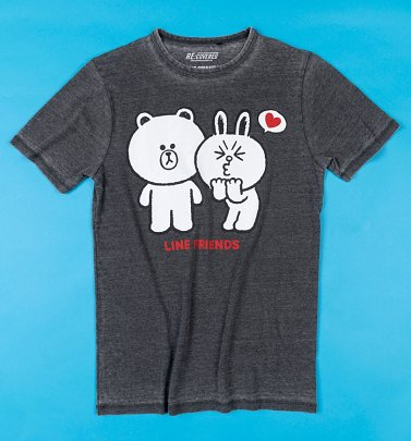Line Friends Brown and Cony Vintage Charcoal T-Shirt from Recovered