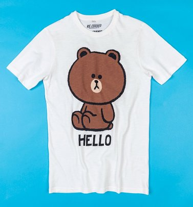Line Friends Hello Off White Slub T-Shirt from Recovered