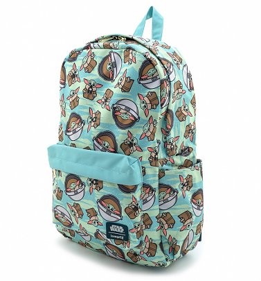 Loungefly Baby Yoda Star Wars The Mandalorian All Over Print Nylon Backpack