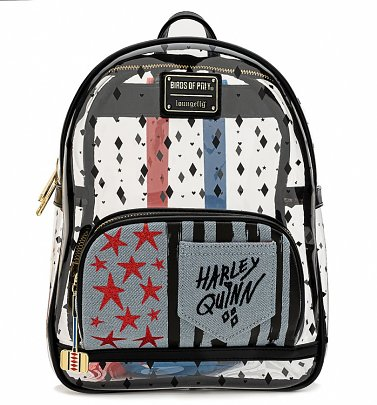 Loungefly DC Comics Birds of Prey Harley Quinn Clear Mini Backpack