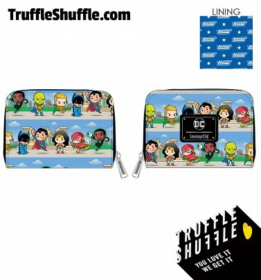 Loungefly DC Superheros Chibi Lineup Zip Around Wallet