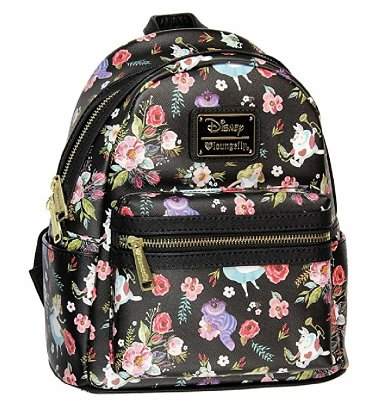 Loungefly Disney Alice In Wonderland Floral All Over Print Black Mini Backpack