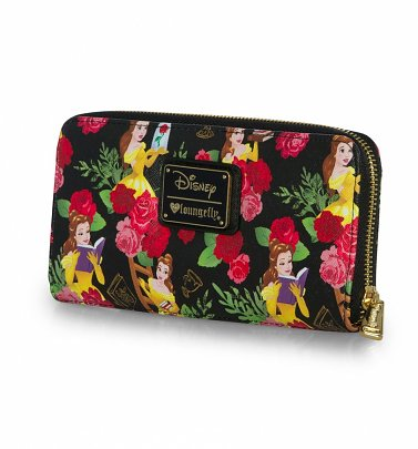 Loungefly Disney Beauty And The Beast All Over Print Belle Floral Zip Around Wallet