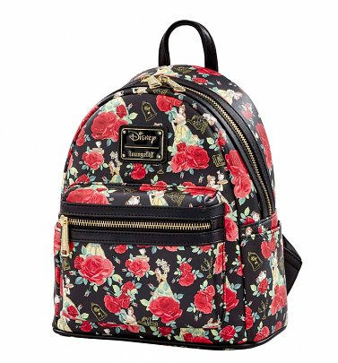 Loungefly Disney Beauty And The Beast All Over Print Belle Roses Mini Backpack