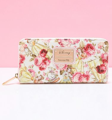 Loungefly Disney Beauty and The Beast Belle Floral Zip Around Wallet