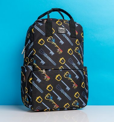 Loungefly Disney Kingdom Hearts Keys All Over Print Square Nylon Backpack