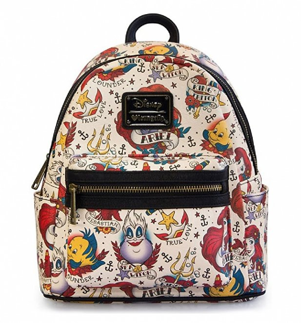 Loungefly Disney Little Mermaid Ariel Tattoo All Over Print Mini Backpack