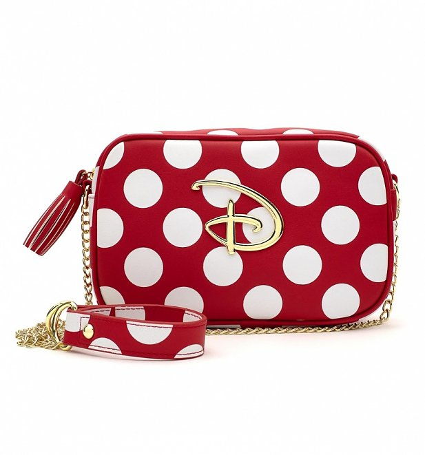 Loungefly Disney Logo Red and White Polka Dot Cross Body Bag
