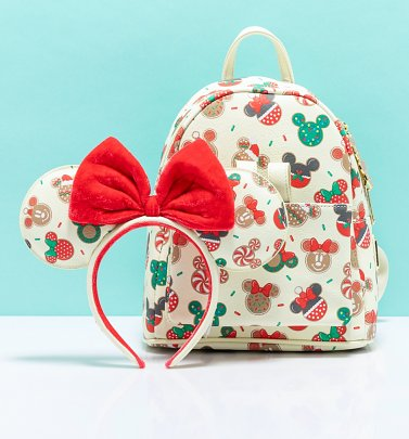 Loungefly Disney Mickey & Minnie Christmas Cookies Mini Backpack & Headband Combo