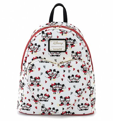 Loungefly Disney Mickey And Minnie Mouse Heart All Over Print Mini Backpack